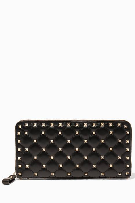 Black Large Rockstud Spike Leather Wallet
