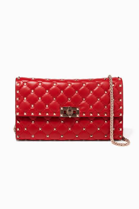 Red Rockstud Spike Small Leather Clutch