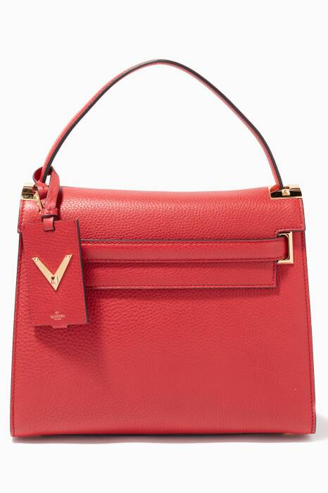 Large Red My Rockstud Textured Leather Tote Bag