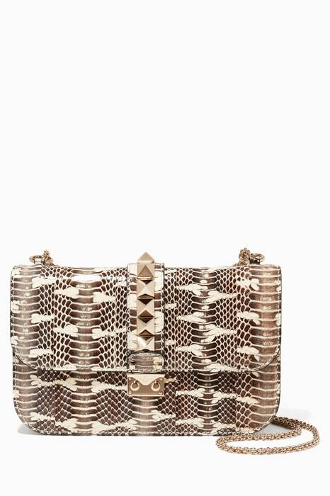 Medium Glam Lock Python Shoulder Bag