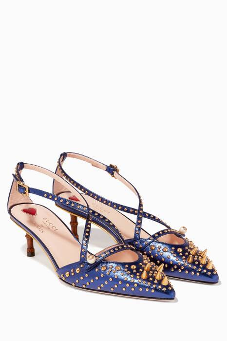 Dark-Blue Sand Pelle S Cuoio Pumps