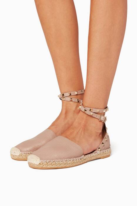 Light Beige Rockstud Double Espadrilles