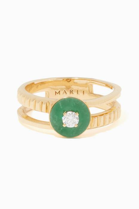 Yellow-Gold Green Jade Coco Ring