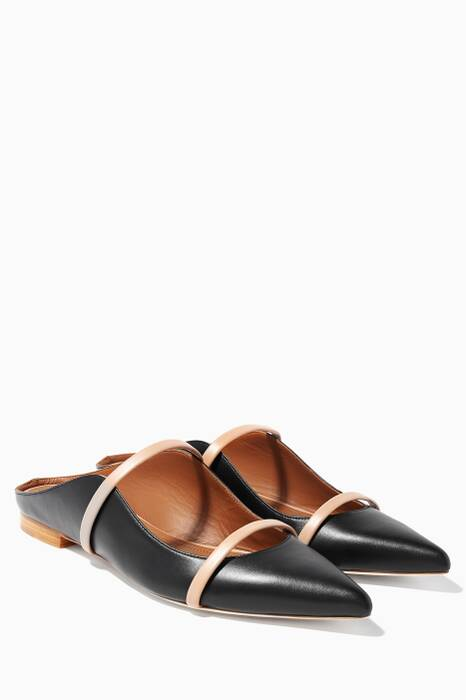 Nude-Black Maureen Leather Flats