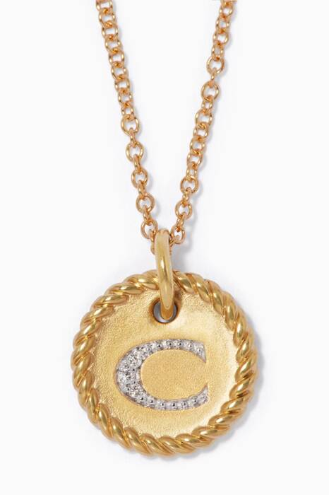 18kt Gold C Initial Charm Necklace with Diamonds