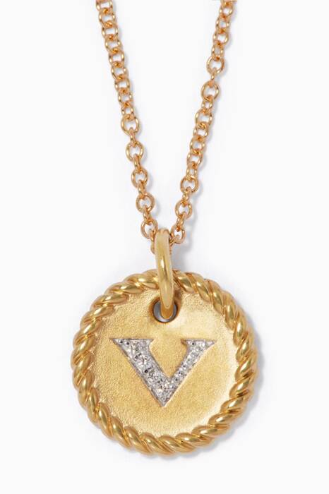 18kt Gold V Initial Charm Necklace with Diamonds