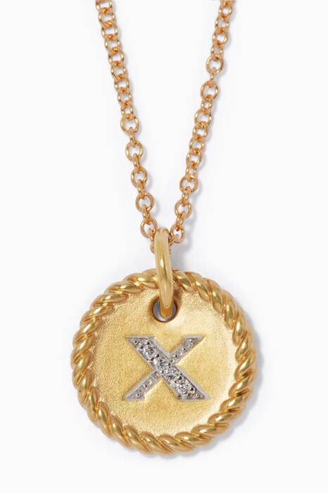 18kt Gold X Initial Charm Necklace with Diamonds