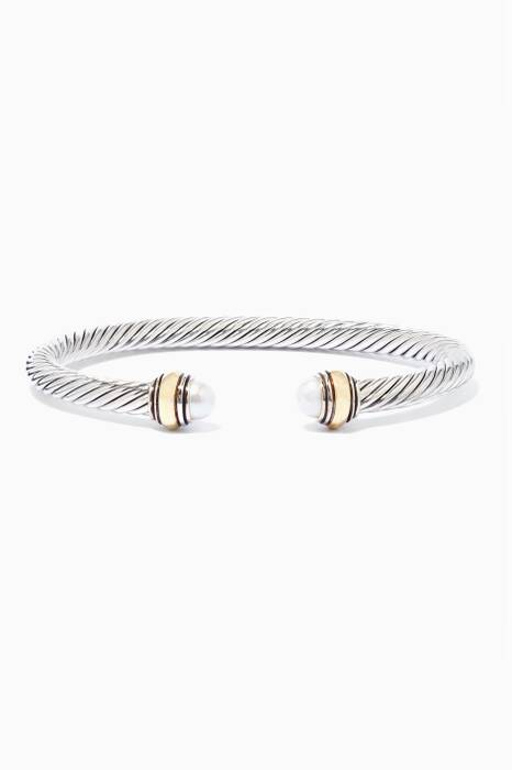 Sterling Silver Pearl And 14kt Gold Cable Bracelet