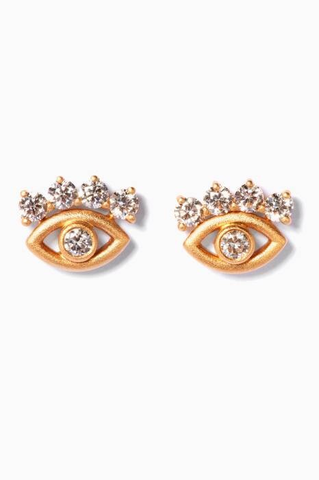 Yellow-Gold & Diamonds Eye Earrings