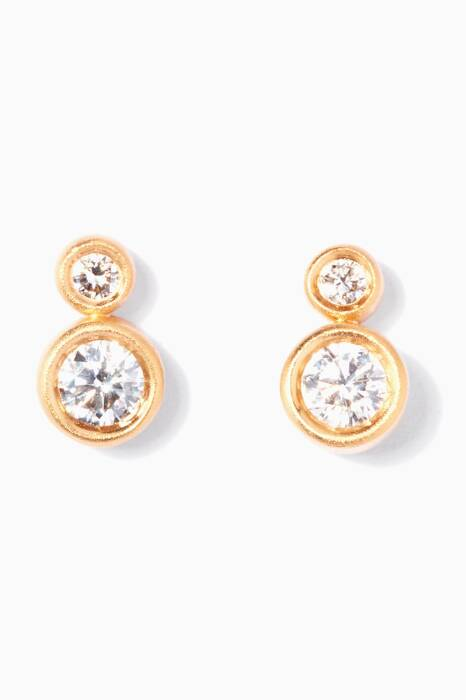 Yellow-Gold & Diamond Double Circle Earrings