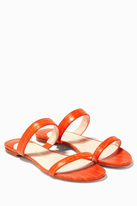 Orange Frida Crocodile Flats