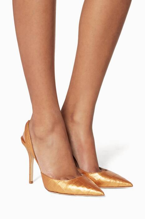 Gold Majita Crocodile Slingback Pumps