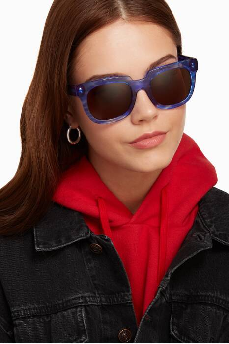 Blue Victoria Oversized Square-Frame Sunglasses