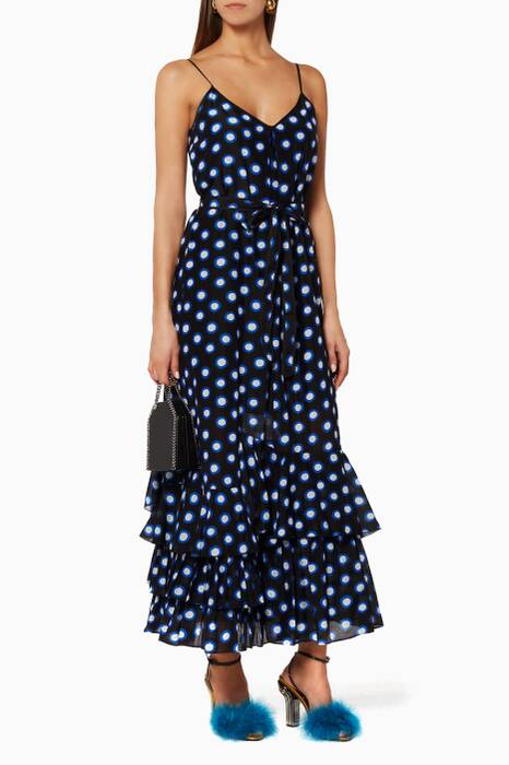 Blue Polka-Dot Ruffle Dress