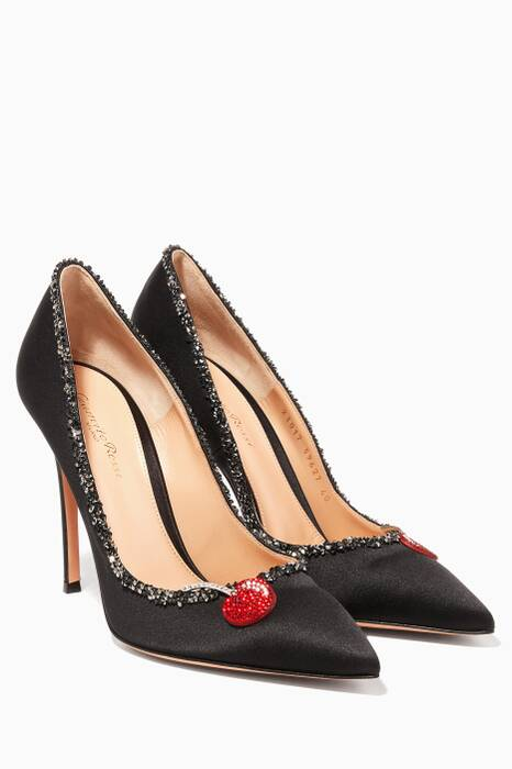 Black Crystal-embellished Pumps