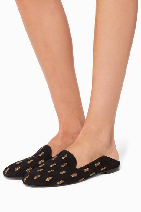 Black Ananas Summer Slippers