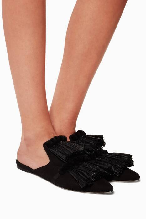 Black Raffia Pompom Slippers