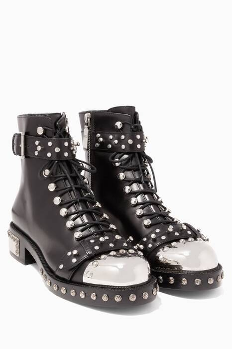 Black Hobnail Metal Ankle Boots