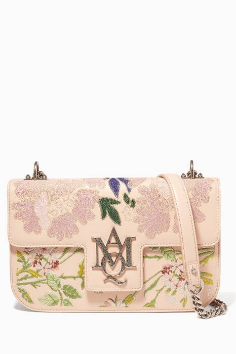Beige Embroidered Insignia Chain Shoulder Bag