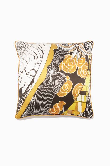 Mustard & Black Printed Small Salome Cushion