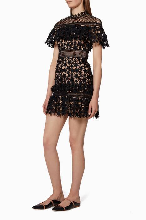 Black Ruffled-Yoke Star Lace Dress