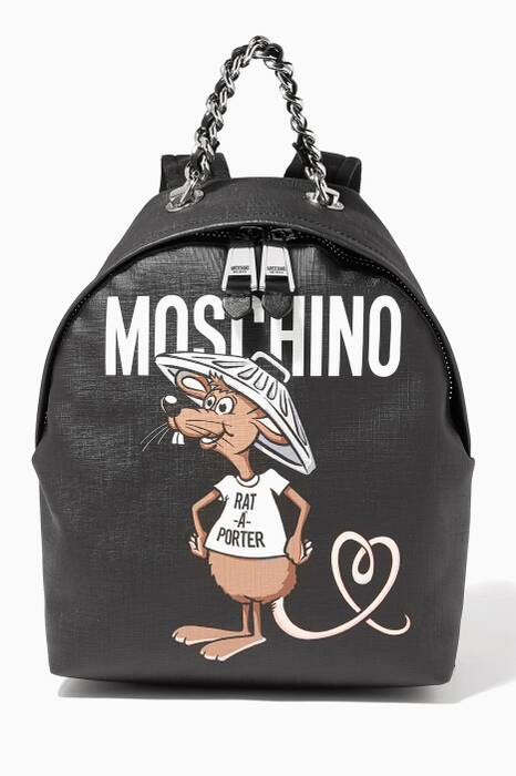Black Slogan Backpack