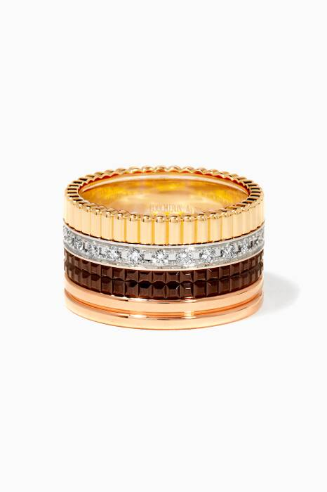 Yellow, White & Rose-Gold Ceramic Large Quatre Ring