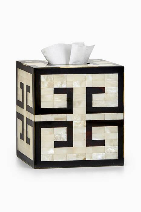 Off-White & Black Greek Key Tissue Cover