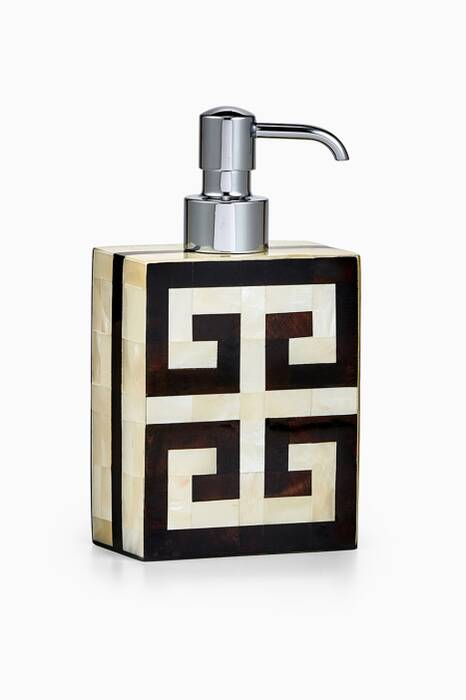 Off-White & Black Greek Key Lotion Dispenser