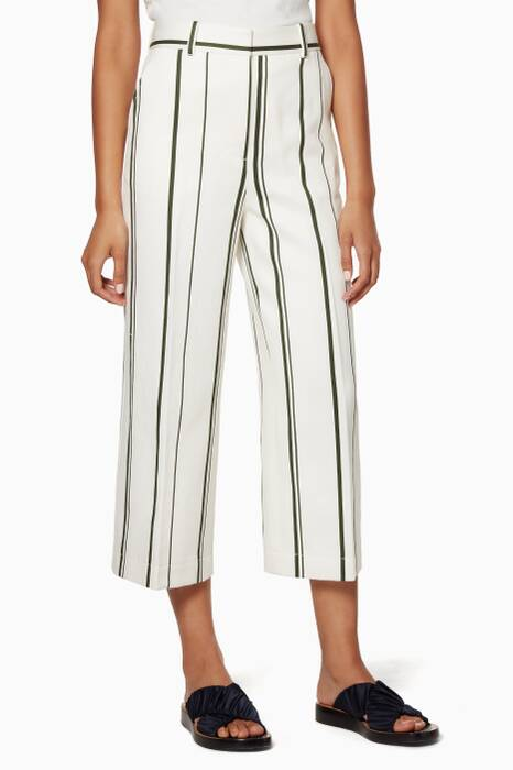 White Striped Wide-Leg Pants