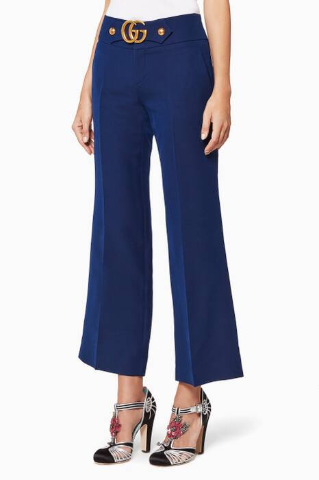 Blue Double G Flared Pants