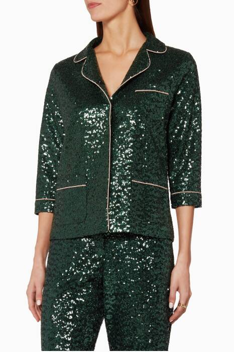 Green Sofia Sequin Pyjama Top