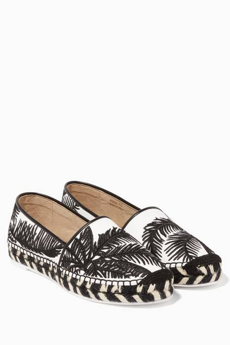 White and Black Palm Tree Espadrilles