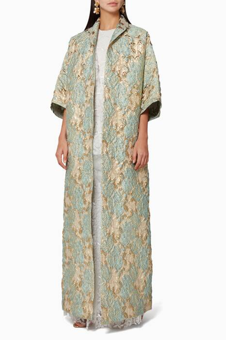 Green Brocade Long Abaya Jacket