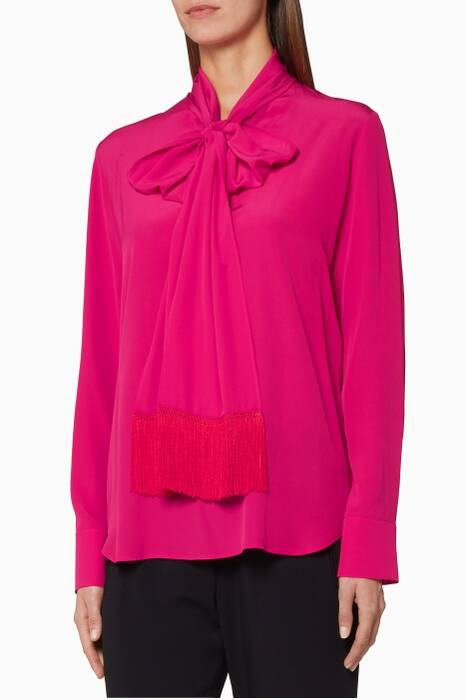 Pink Wilma Fringe-Scarf Blouse