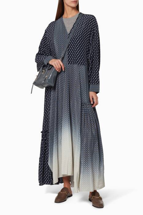 Navy Dominique Dog & Tie-Print Maxi Dress