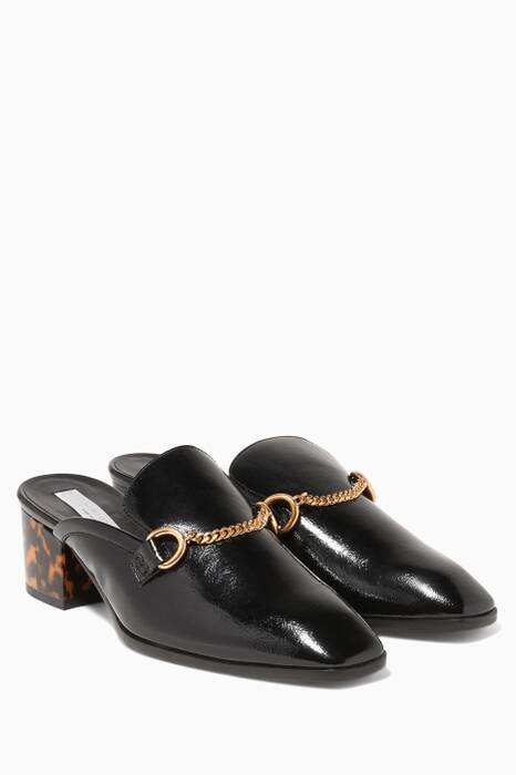 Black Patent Open-back Loafers