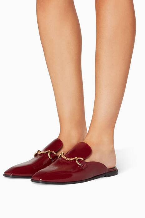 Garnet-Red Patent Faux-Leather Loafers