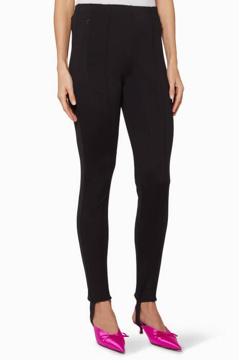 Black Jersey Stirrup Leggings
