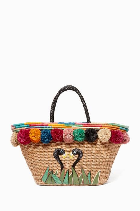 Multi-Coloured Embroidered Pompom Tote Bag