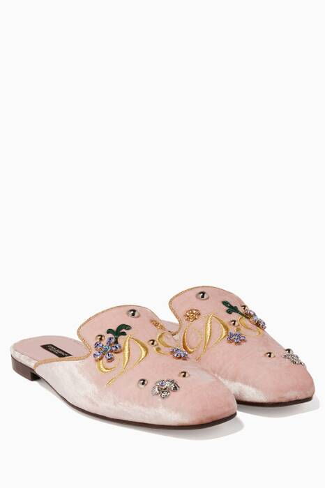 Light Pink Jackie Velvet Embroidered Slippers