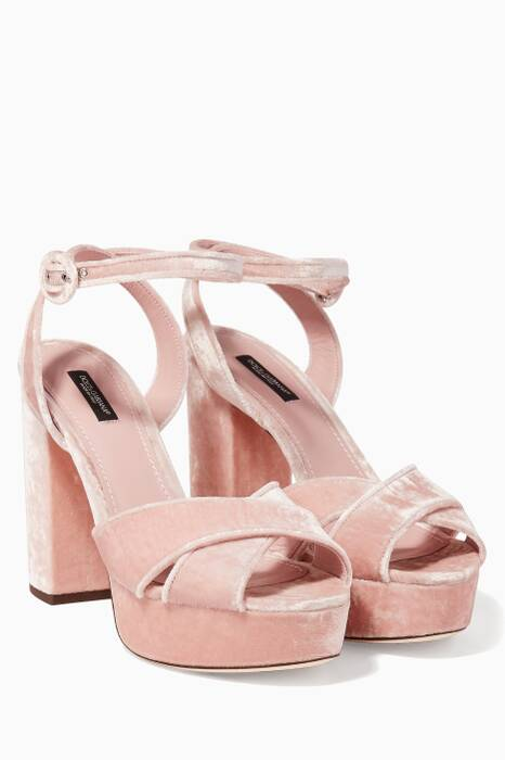 Light Pink Jackie Velvet Platform Sandals