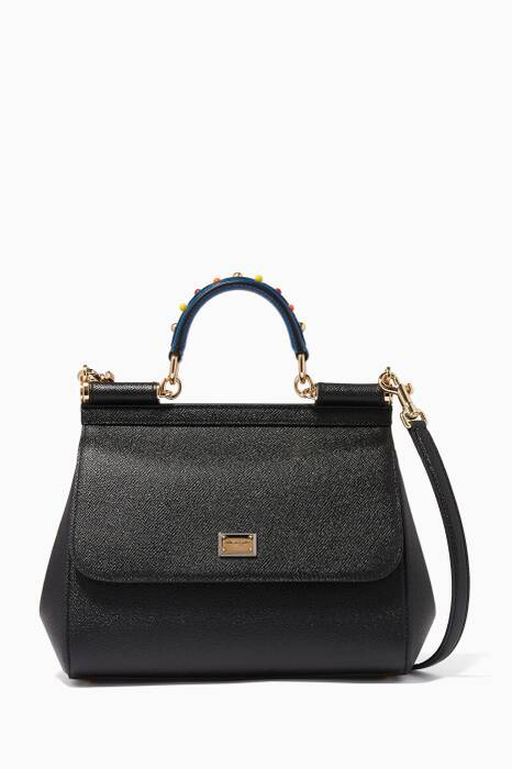 Black Medium Sicily Dauphine Leather Bag