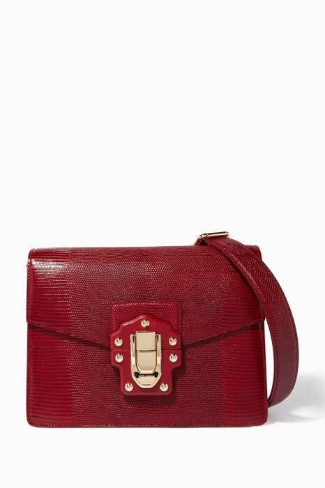Dark-Red Medium Iguana-Effect Lucia Shoulder Bag
