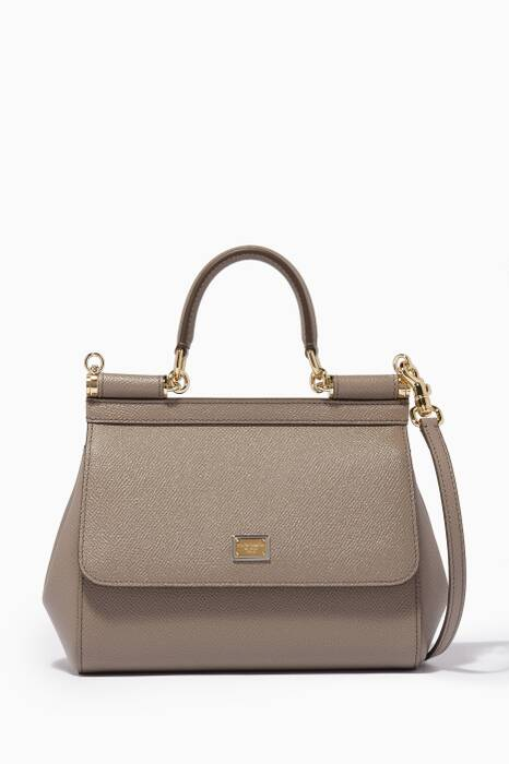 Light-Grey Small Dauphine Leather Sicily Top-Handle Bag
