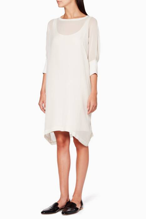Off-White Elbow-Sleeve Dress