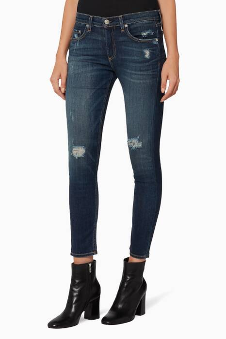 Dark-Blue Distressed Capri Jeans
