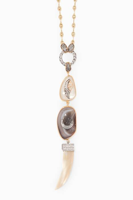 Gold & Silver Cubic Zirconia Agate Necklace