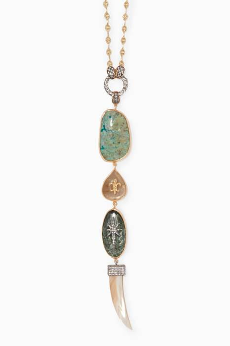Gold & Silver Agate Stone Dagger Necklace