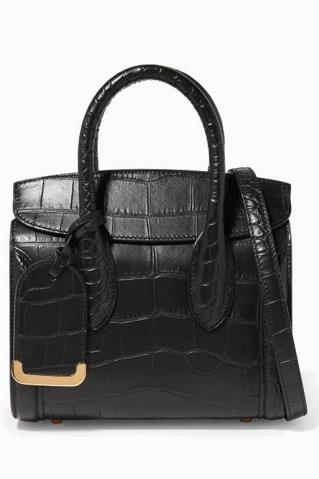 Black Croc-Embossed Heroine 21 Cross-Body Bag